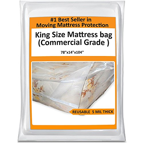 King Mattress Bag For Moving - Heavy Duty Cover Protector 5 Mil Thick - Reusable Storage (Mattress Storage Covers)