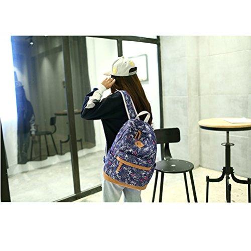 Inwagui Mädchen Fashion Canvas Rucksack Schulrucksack Studentensegeltuch Rucksack für Teenager-Marine