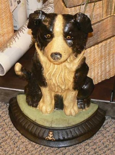 Luxe Border Collie Dog Statue Doorstop Cast Iron Horchow