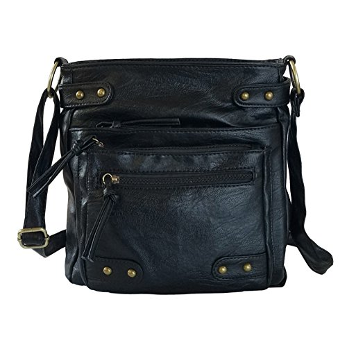 FanCarry Washed Soft Leather Crossbody Purse Multi Pocket Shoulder Satchel Bags for Women (Black-upgraded) (Leather Handbags Cross Body)