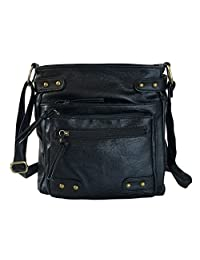 FanCarry Washed Soft PU Leather Crossbody Purse Multi Pocket Shoulder Satchel Bags for Women