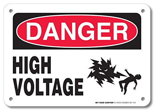 """Danger High Voltage Rectangular Electrical Sign by My Sign Center - Rust Free, UV Coated and Weatherproof .040 Aluminum - Rounded Corners and Pre-Drilled Holes - 7"""" x 10"""" - A81-104AL"""