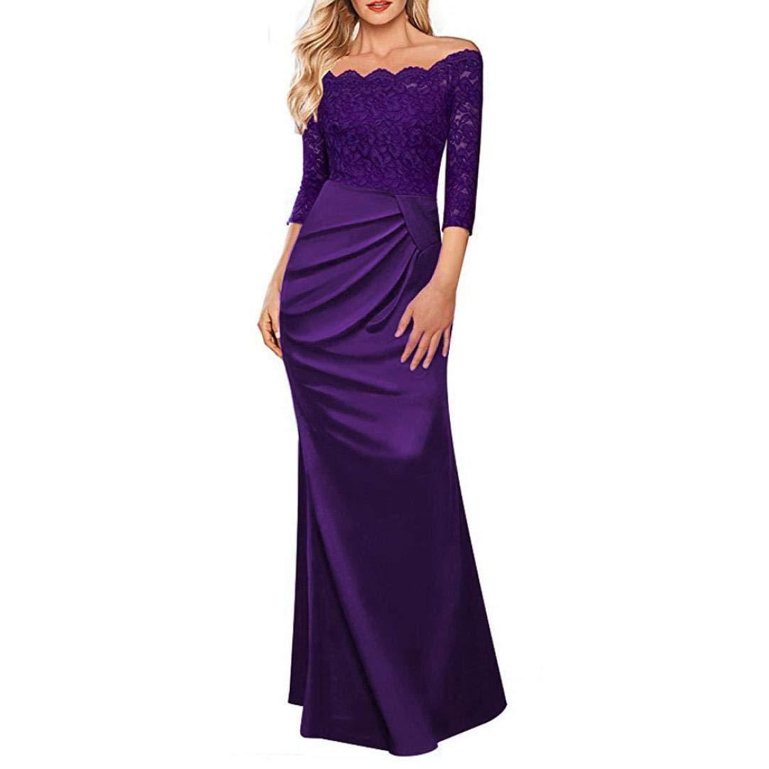 TALLA XL. Overdose Vestido Largo Formal De La Tarde del Partido De Tarde del Vestido Largo del Partido De La Tarde del Hombro De Las Mujeres del Vestido De La Dama De Honor del Vestido del Concierto Púrpura XL