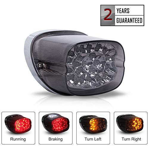 Motorcycle LED Turn Signal Integrated Tail Light Replacement for Harley Davidson Fatboy Heritage Sportster Softail XL FLHR FLHRCI FXD Dyna Road King Electra Glide Rear Brake Park Light (Smoked)