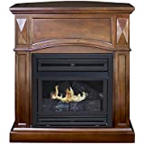 Pleasant Hearth Convertible Vent-Free Dual Fuel Fireplace, 35-Inch, Cherry