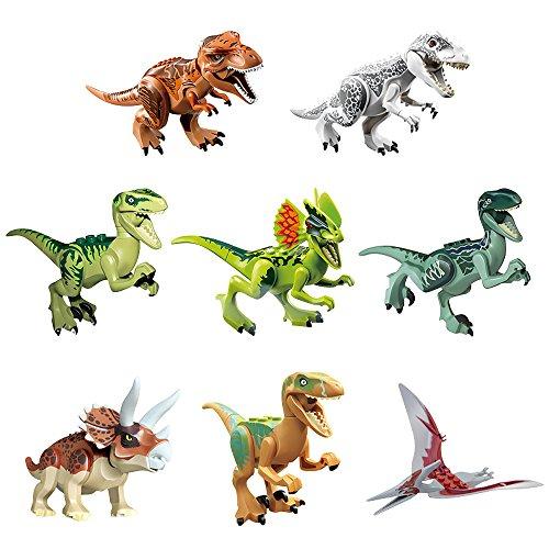 GREATOYARD Dinosaur Toys 8Pcs Dinosaur Building Blocks Dinosaur Figure Dinosaur Blocks Playset Ideal Halloween Goody Bag for Kids Girls -