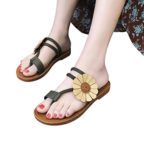 TOOPOOT Women's Summer Sandals,Spring Flower Wedges Platform Casual Roman Anti Skidding Beach Shoes Sandals Slipper (US:8, (Green Wedge Platform)
