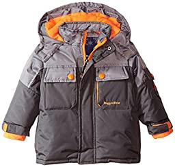 Rugged Bear Baby Boys\' Solid Colorblock Ski Jacket, Charcoal, 24 Months