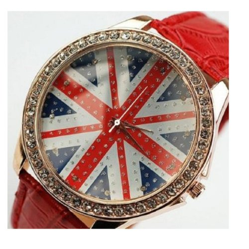 Aokin Women Lady Girl Union Jack British Flag Leather Quartz Watch, Multi-colored Options (Red)