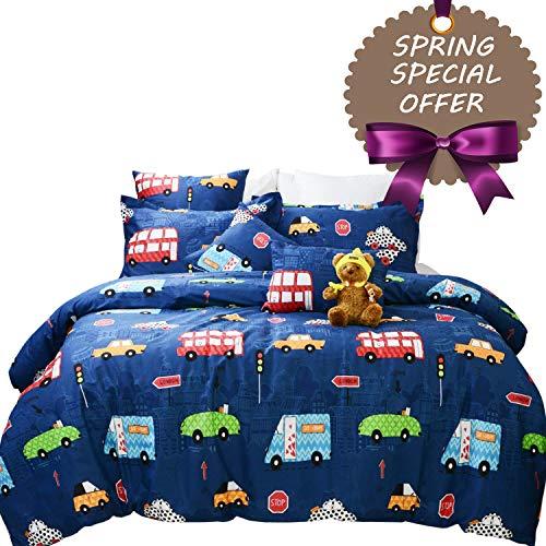 875095e2ac4f Brandream Boys Bedding Set Full Size Blue Cars Pattern Toddler Kids Duvet  Cover Set 3-