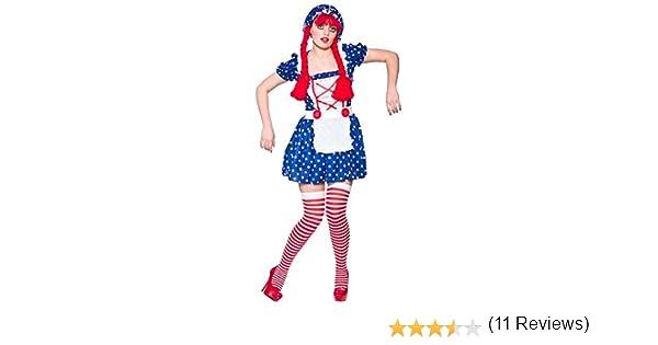 Disfraz para mujer, diseño de muñeca de trapo: Talla XS 34-36 ...