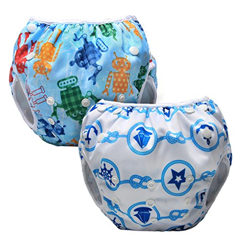 LUXJA Reusable Swim Diaper (Pack of 2), Adjustable Swimming Diaper for Baby (0-3 Years), Sailing + Robot 1yr Robot