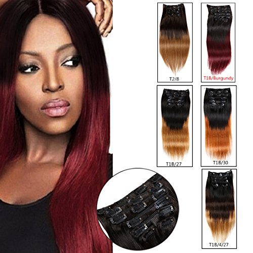 Ombre Hair Extensions Clip in Human Hair Brazilian Virgin Hair Double Weft 7 Pieces/set (70g 10