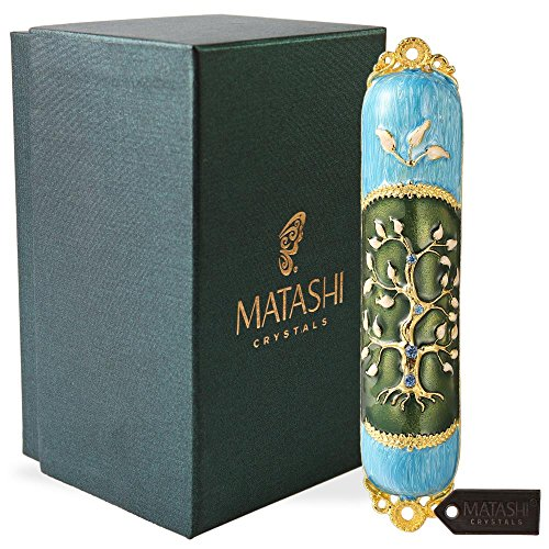 Hand Painted Enamel Mezuzah Embellished with a Tree of Life Design with Gold Accents and Crystals by Matashi