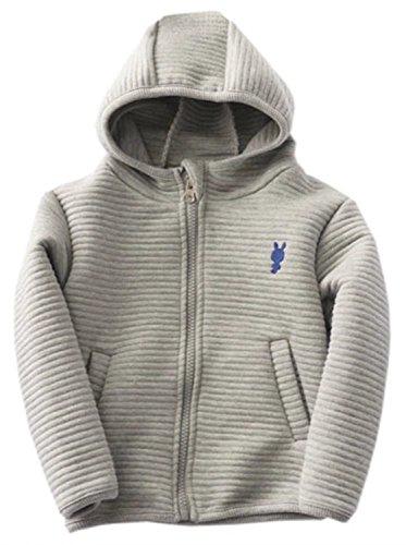 Betusline Little Baby Boys and Girls Full Zip Hoodie Jacket Coat Outerwear Grey,5