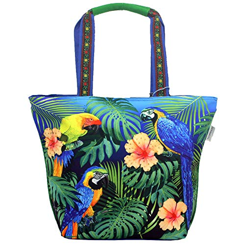Tropical Jungle Macaw Parrot Large Shoulder Tote Bag