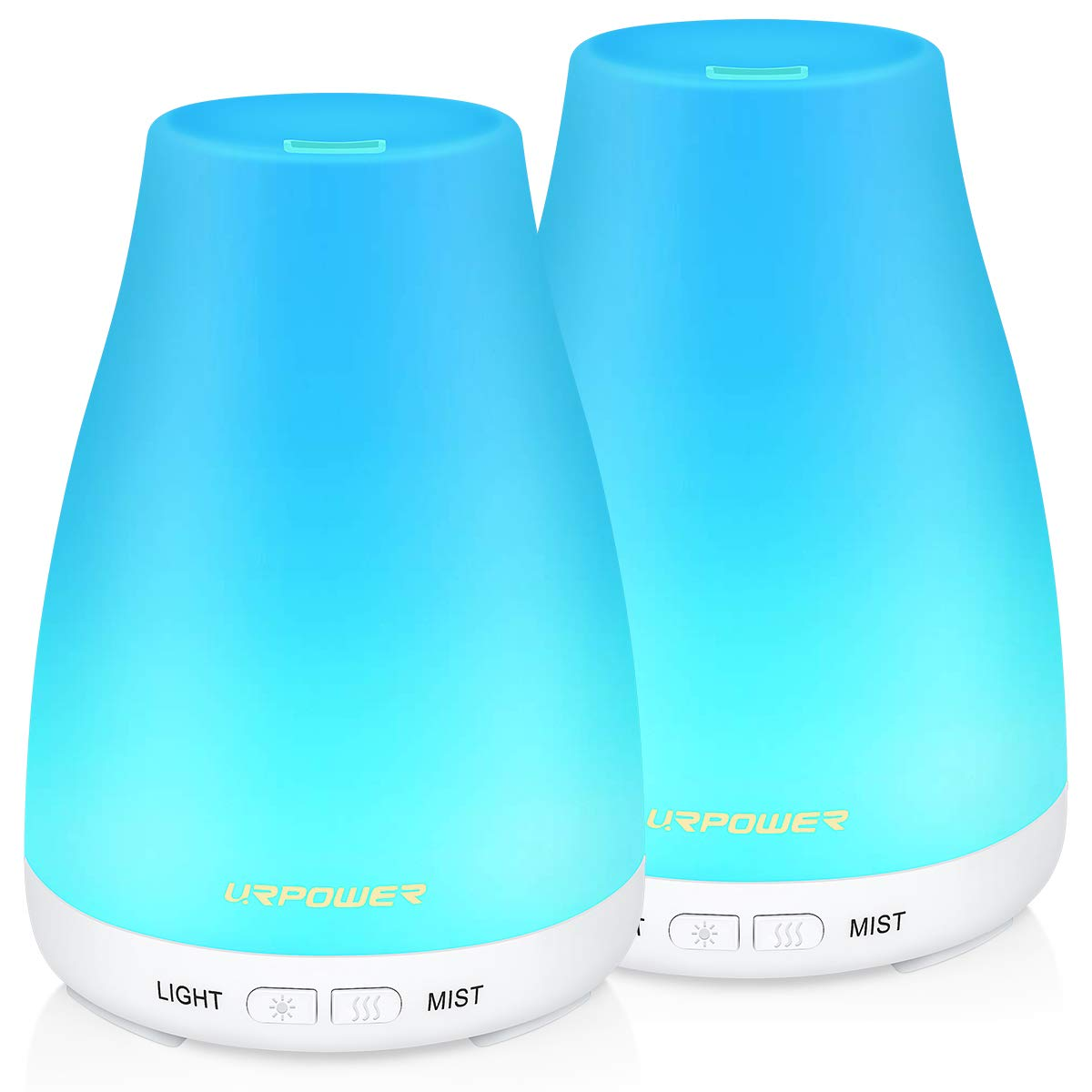 URPOWER Essential Oil Diffuser, 2 Pack Aromatherapy Diffuser for Essential Oils Portable Cool Mist Humidifier with Adjustable Mist Mode 7 Colors LED Lights and Waterless Auto Shut-Off for Home Office by URPOWER