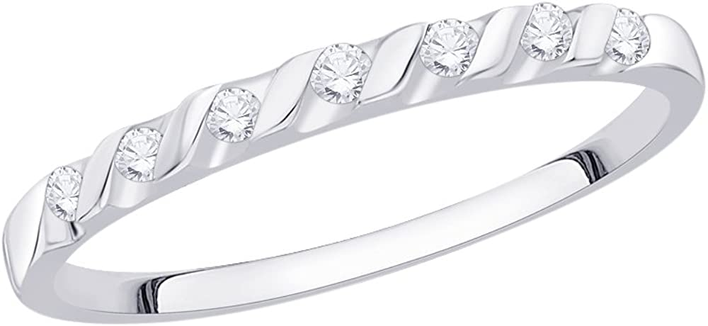 Size-5 G-H,I2-I3 Diamond Wedding Band in 14K White Gold 1//10 cttw,