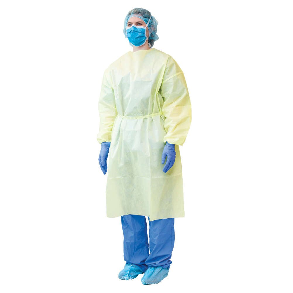 MediChoice Isolation Gowns, Full Back, AAMI, Level 2, Elastic Cuff, Tie Neck And Waist, Spunbond Meltblown Spunbond, Universal, Yellow (Bag of 10)