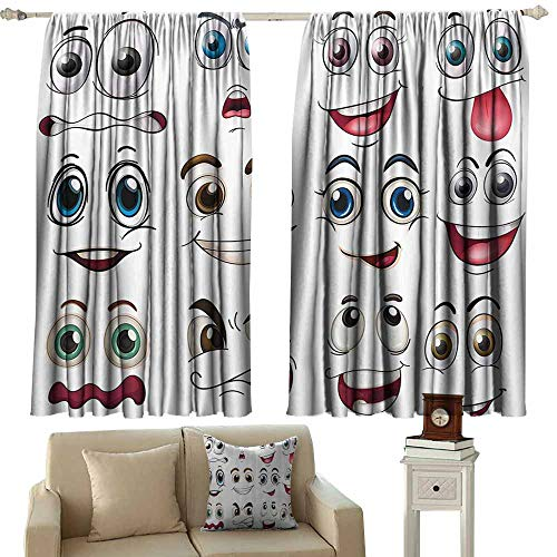 Blackout Window Curtain,Cartoon Decor Smiley Face Emoji Cartoon Hand Drawing Image with Positive Face Expressions,Darkening and Thermal Insulating Draperies,W63x72L Inches,Multicolor ()