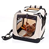 2PET Folding Soft Dog Crate for indoor, travel, training for pets up to 25 lbs Medium 24 Inch Beige