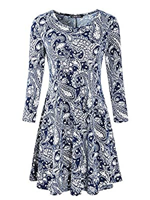 Luckco Women's Scoop Neck 3/4 Sleeve Floral Flare Casual Swing T-Shirt Dress