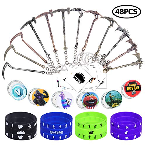 Video Game Party Favors - 48PCS Carnival Prizes Bulk for Kids- Bracelets Keychains Pins Tattoos - Birthday Party Supplies Pinata Filler Easter Basket Stuffers]()