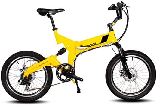 Bicicleta eléctrica Bicicleta de montaña para hombre 36v 250w 8.8ah Scooter de batería de litio ultra ligero para ciclomotor Bicicleta eléctrica plegable de 20 pulgadas para adultos,Amarillo,Standard: Amazon.es: Hogar