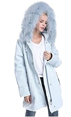 1dc6afcac79a Image Unavailable. Image not available for. Color  Moda Furs Women s Baby  Blue Winter Jacket Coat with Hood Fox Fur Trim ...