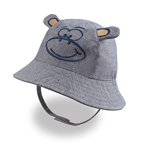 XIAOHAWANG Baby Sun Hat Boys Girls Toddler Summer Bucket Outdoor Child Beach Caps UPF 50+ for 3 Months-4 Years (Monkey, 17.32