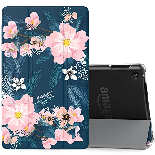 MoKo Case for All-New Amazon Fire 7 Tablet (7th Generation, 2017 Release Only) - Ultra Lightweight Slim Shell Stand Cover with Translucent Frosted Back for Fire 7, Night Blossom (with - 2015 Fashion Glasses