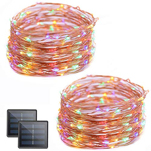 Vmanoo Solar String Lights 32 Feet 100 Led Starry String Lights Copper Wire Indoor Outdoor Lighting For Home Garden Party Path Lawn Wedding Christmas Diy Decoration 2 Pack Multicolor