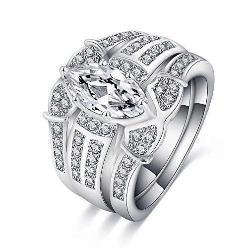 LuckyWeng Marquise CZ Wedding Engagement Ring Sets 3PC 925 Silver Pave Simulated Halo Diamond for Her ()