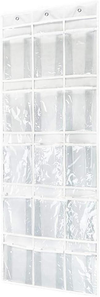 15 Grid Over The Door Shoe Organizer Jewelry Storage Bag Sundries,Jam Jar, Food Snack Storage Bag, White 18 X 52 Inches