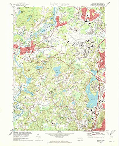 YellowMaps Concord MA topo map, 1:24000 Scale, 7.5 X 7.5 Minute, Historical, 1970, Updated 1972, 26.9 x 21.9 in - Paper