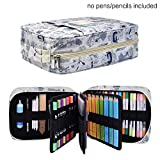 qianshan 202 Colored Pencils Pencil Case/136 color gel pens Pen Bag/Marker organizer - Universal Artist use Supply School Zippered Large Capacity slot Super big Professional Storage sketch