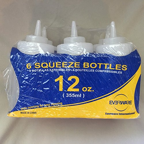 SET OF 6 EVERWARE 12 OZ CONDIMENT SQUEEZE BOTTLES RESTAURANT KETCHUP ;from#kotoba-inc; - Condiment 12 Bottles Squeeze Oz