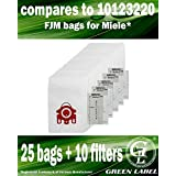 25 bags + 10 Filters for Miele HyClean FJM 3D Efficiency Dustbags for Compact Vacuum Cleaners (compares to 10123220). Genuine Green Label product.