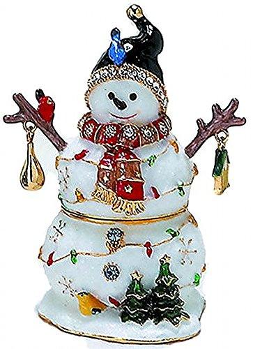 Snowman Hinged Box - Bejeweled Winter Snowman & Birds Enamel Trinket Box with Austrian Crystals