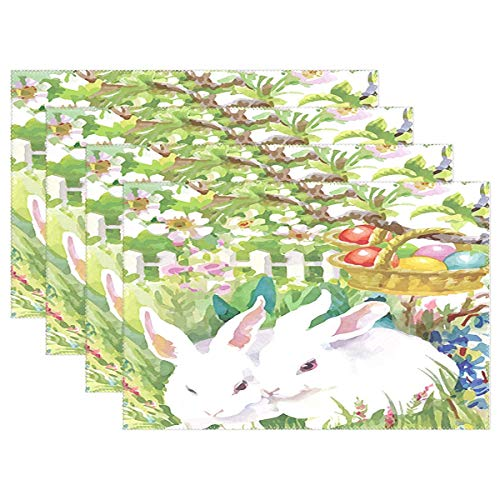 (Wamika Happy Easter Day Bunny Colorful Egg Placemat Set of 6 Table Mat, Spring Floral Cross Bird Table Mats Placemats Non Slip Stain Heat Resistant 12x18 in for Dining Home Kitchen Decor Indoor)