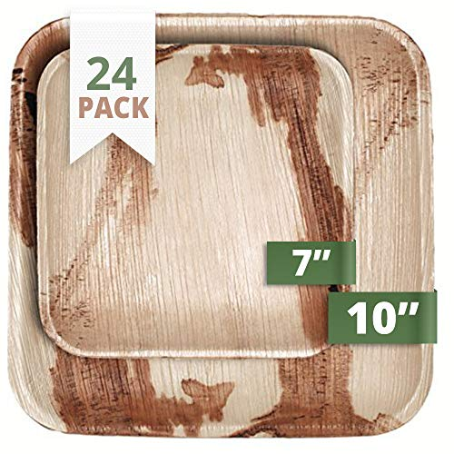 CaterEco Square Palm Leaf Plates Set | Pack of 24- (12) Dinner Plates and (12) Salad Plates | Ecofriendly Disposable Dinnerware | Heavy Duty Biodegradable Party Utensils for Wedding, Camping & More