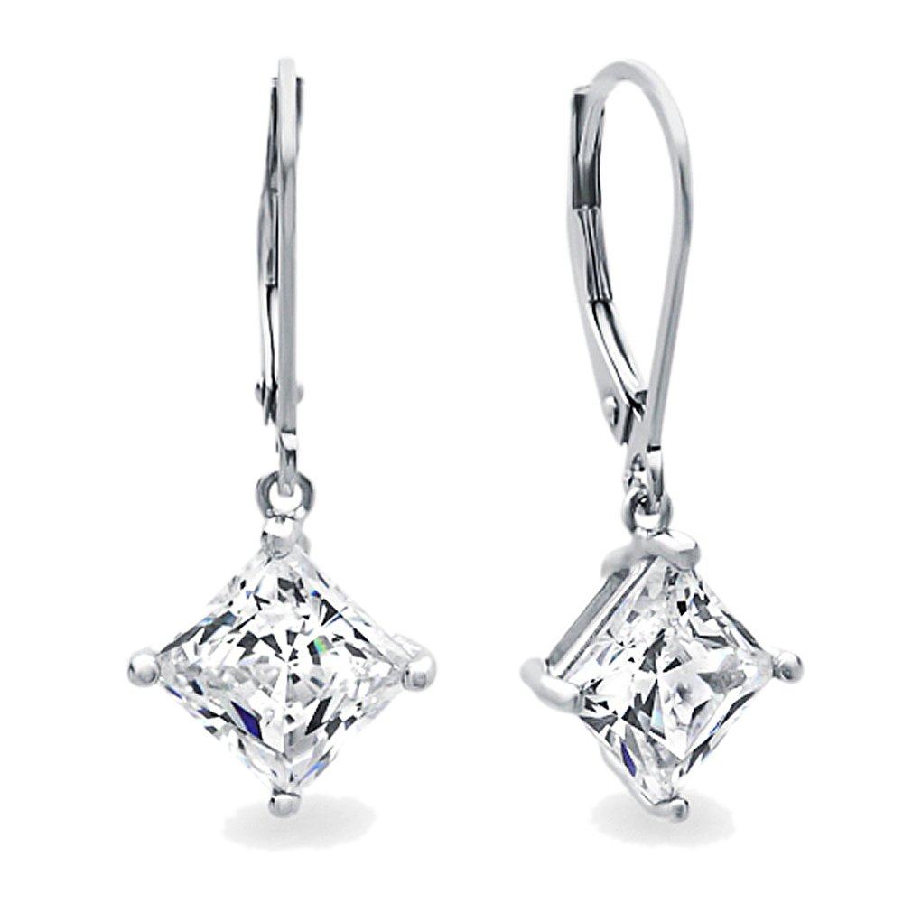 Diamoni Collection Rhodium Plated Sterling Silver 3.5 cttw Asscher Cut CZ Lever Back Dangle Earrings