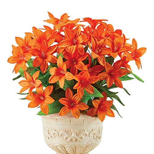 (Faux Daylily Big Bloom Bushes - Set of 3 - Outdoor or Indoor Decorative Accent, Orange)