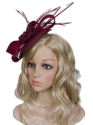 Vijiv Women Vintage Derby Fascinator Hat Pillbox Headband Feather Cocktail Tea Party, Red, One Size by Vijiv (Image #4)