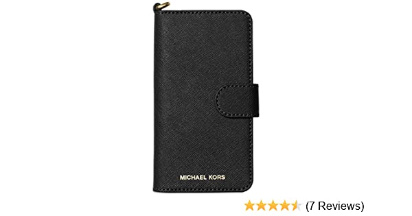 83314cab19b8 Amazon.com  Michael Kors Saffiano Leather Folio for Apple iPhone X - Black   Cell Phones   Accessories