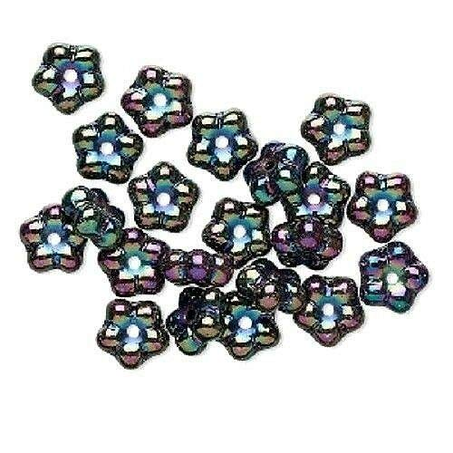 50 Iris Purple Oil Slick Preciosa Czech Glass 7mm Daisy Flower Disc Spacer Beads