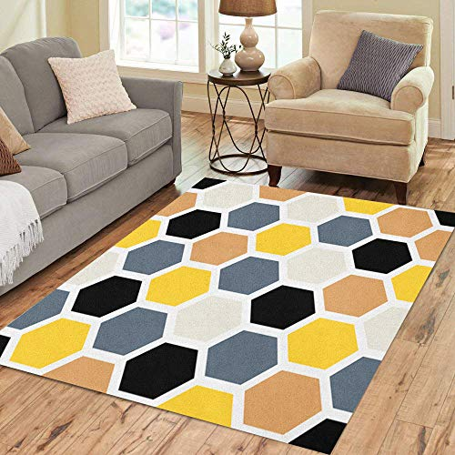 Semtomn Area Rug 2' X 3' Colorful Abstract Geometric Pattern Honeycomb Gray Beehive Black Endless Home Decor Collection Floor Rugs Carpet for Living Room Bedroom Dining Room