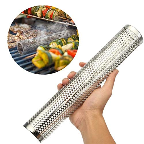 (BBQ Grill Smoking Mesh Tube Round Smoke Generator Stainless Steel Smoker Wood Pellet Home Outdoors Barbecue Tools Kitchenware)