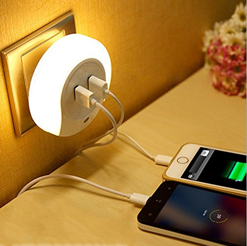 Price comparison product image 5V 2A USB Quick Wall Charger Station,Cute Nursery LED Night Lamp,Baby Sleep Night Light ,USB Charger for Apple Mobile Phone,iPad,Android PSP ETC.(white)