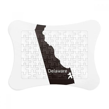 Amazon.com: Delaware America USA Map Silhouette Paper Card Puzzle ...